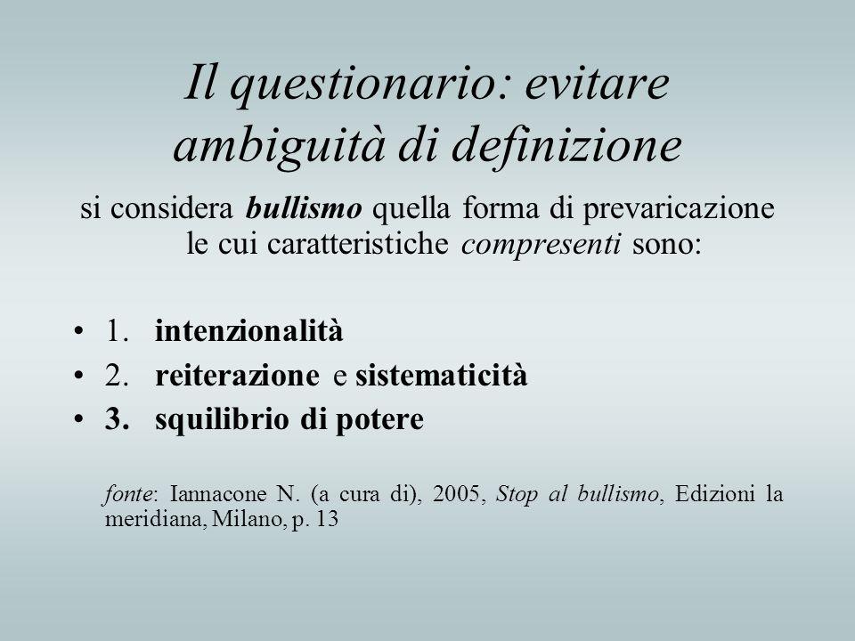 Il questionario: evitare ambiguità di definizione