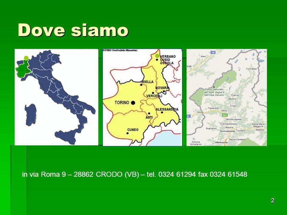 Dove siamo in via Roma 9 – 28862 CRODO (VB) – tel. 0324 61294 fax 0324 61548
