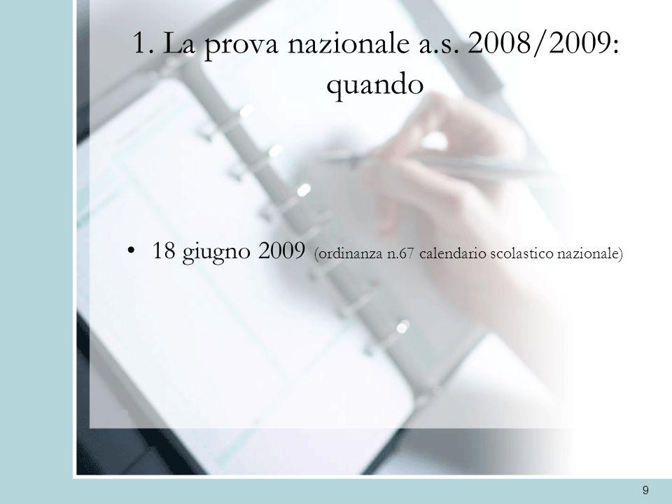 1. La prova nazionale a.s. 2008/2009: quando