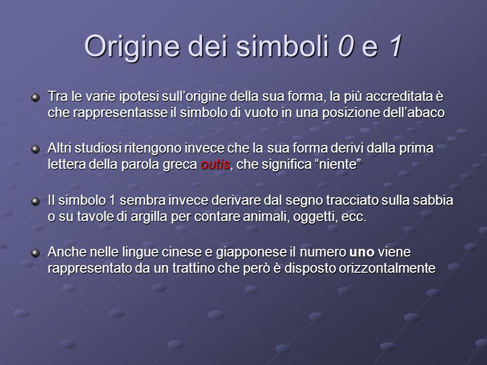 Origine dei simboli 0 e 1