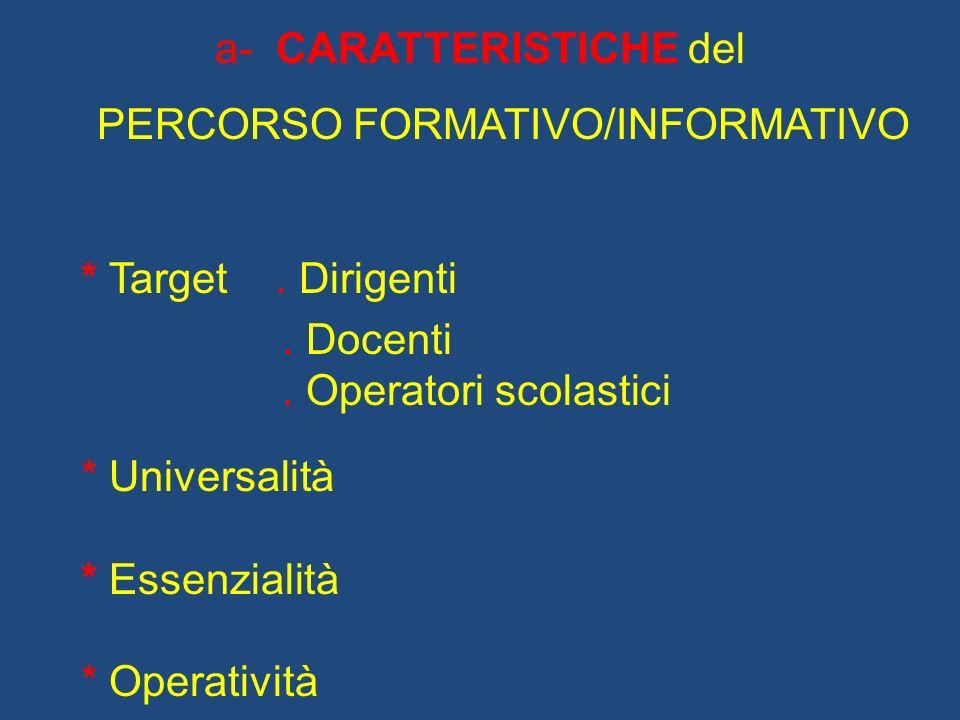 a- CARATTERISTICHE del PERCORSO FORMATIVO/INFORMATIVO