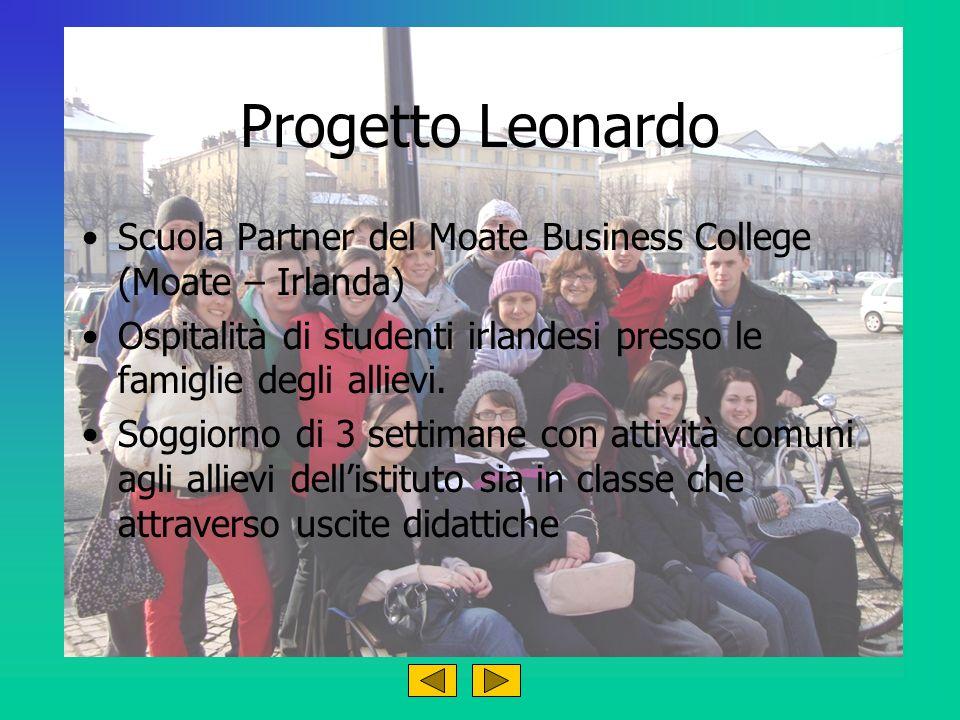Progetto Leonardo Scuola Partner del Moate Business College (Moate – Irlanda) Ospitalità di studenti irlandesi presso le famiglie degli allievi.