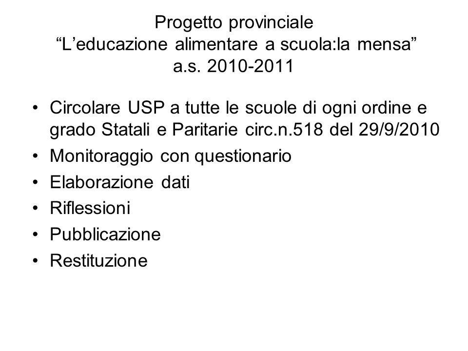 Progetto provinciale L'educazione alimentare a scuola:la mensa a. s