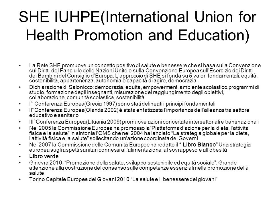 SHE IUHPE(International Union for Health Promotion and Education)