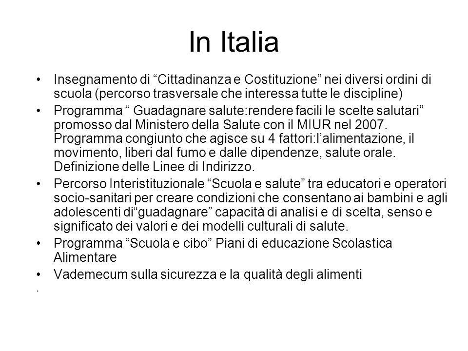 In Italia Insegnamento di Cittadinanza e Costituzione nei diversi ordini di scuola (percorso trasversale che interessa tutte le discipline)