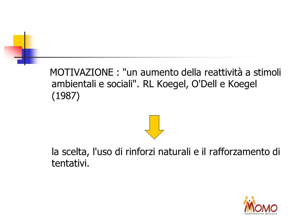 MOTIVAZIONE : un aumento della reattività a stimoli ambientali e sociali . RL Koegel, O Dell e Koegel (1987)
