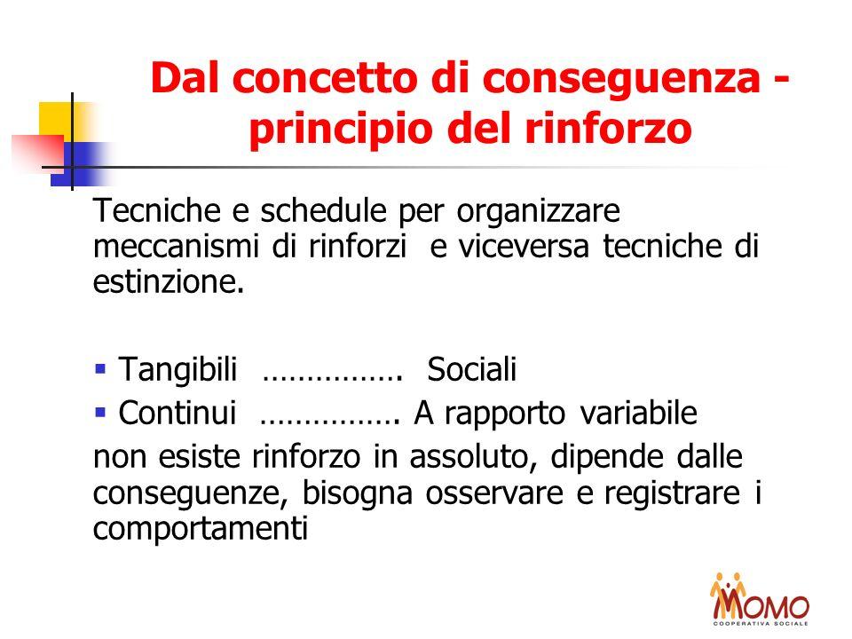 Dal concetto di conseguenza - principio del rinforzo