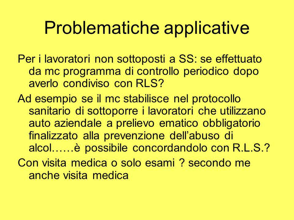 Problematiche applicative