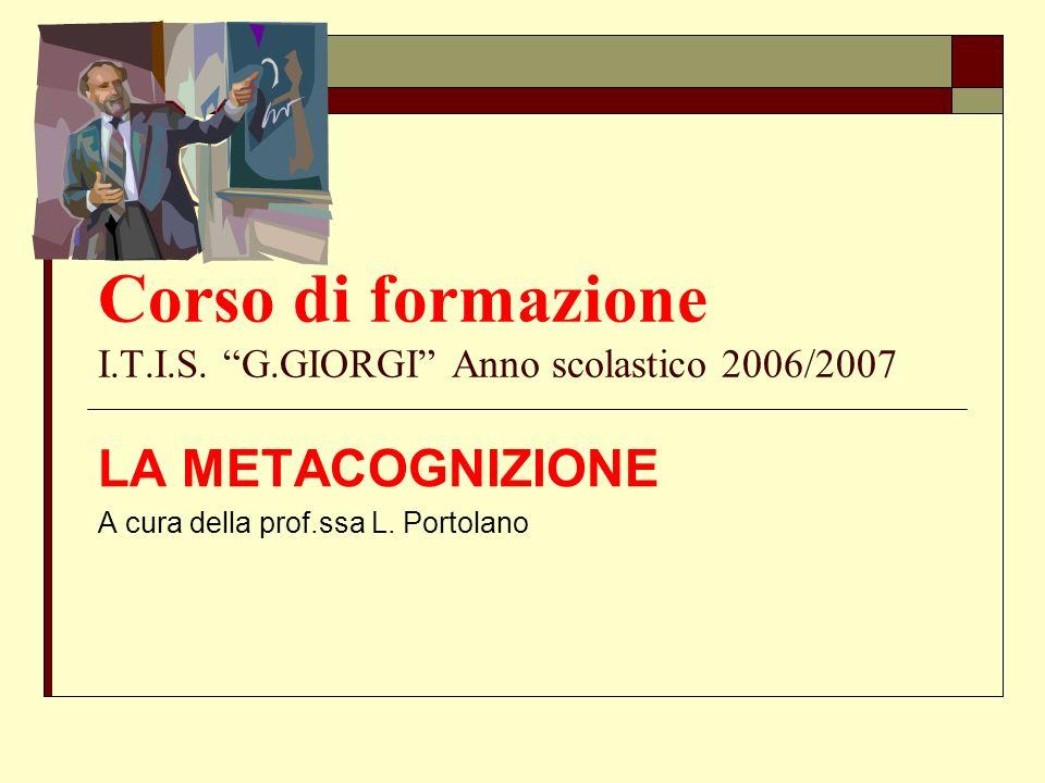 Corso di formazione I.T.I.S. G.GIORGI Anno scolastico 2006/2007