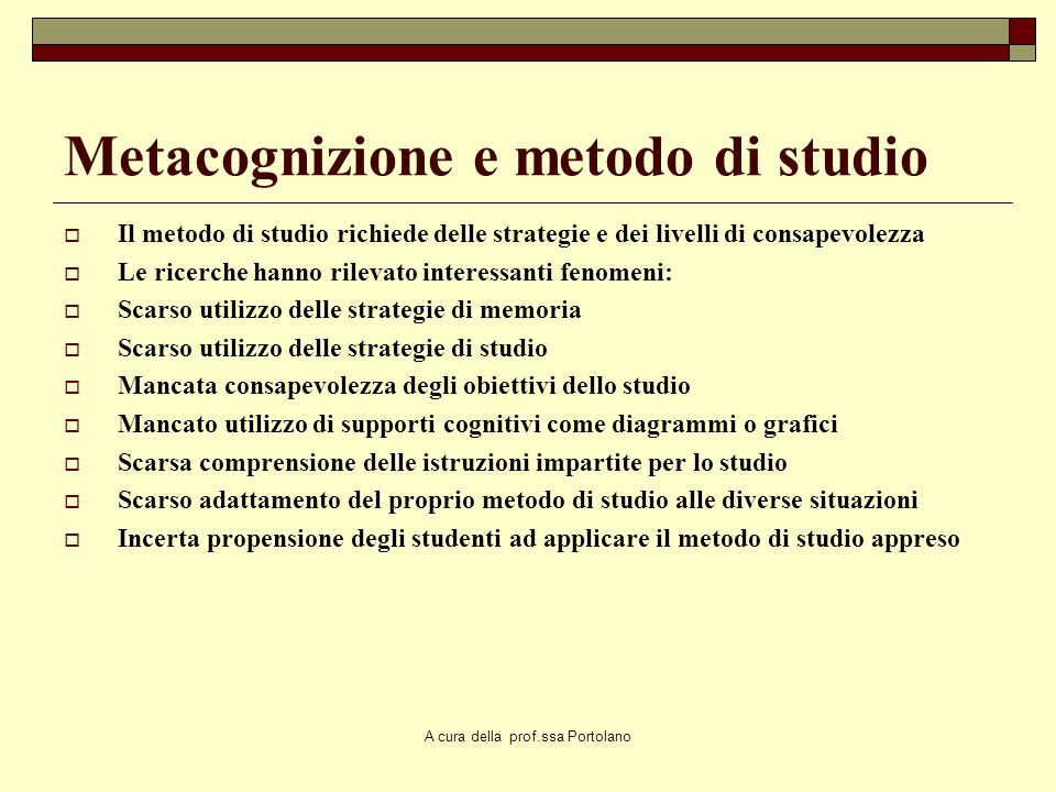 Metacognizione e metodo di studio
