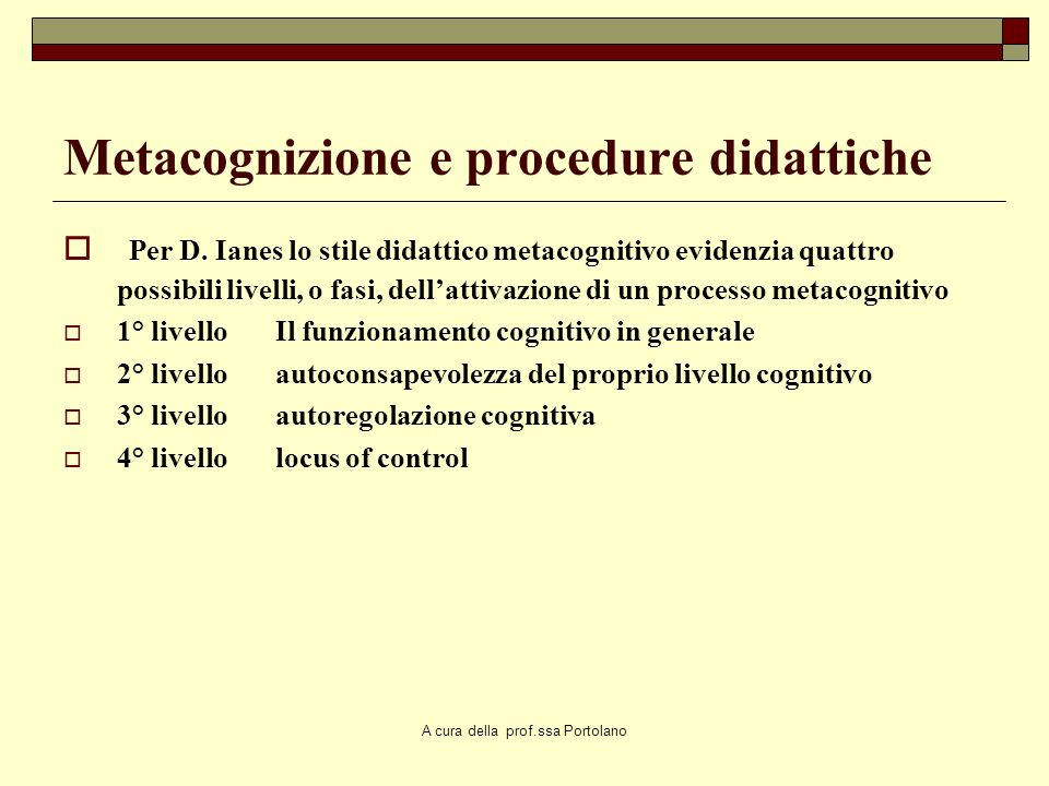 Metacognizione e procedure didattiche