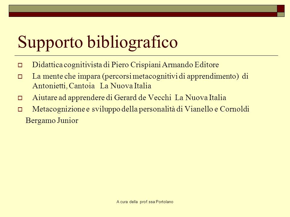 Supporto bibliografico