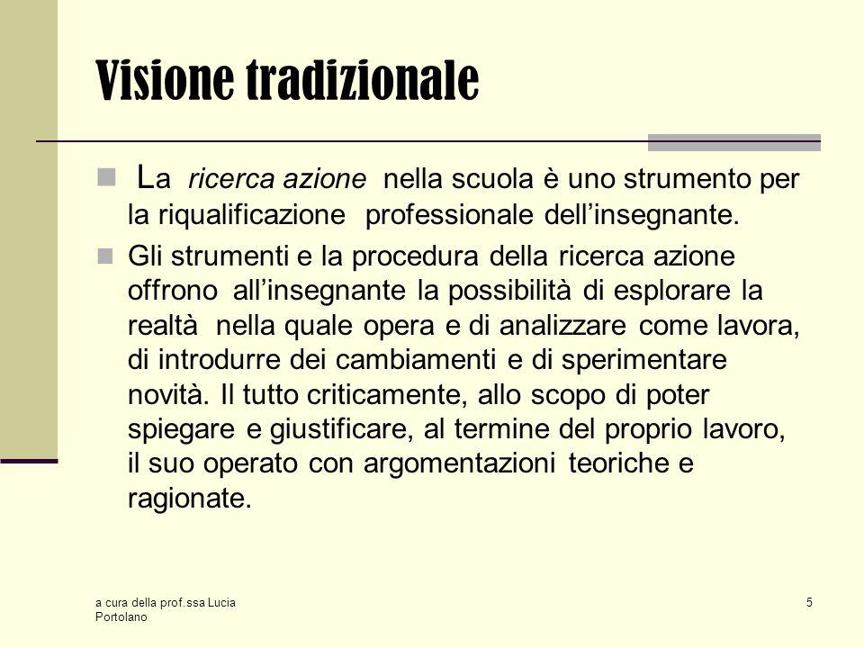 Visione tradizionale La ricerca azione nella scuola è uno strumento per la riqualificazione professionale dell'insegnante.