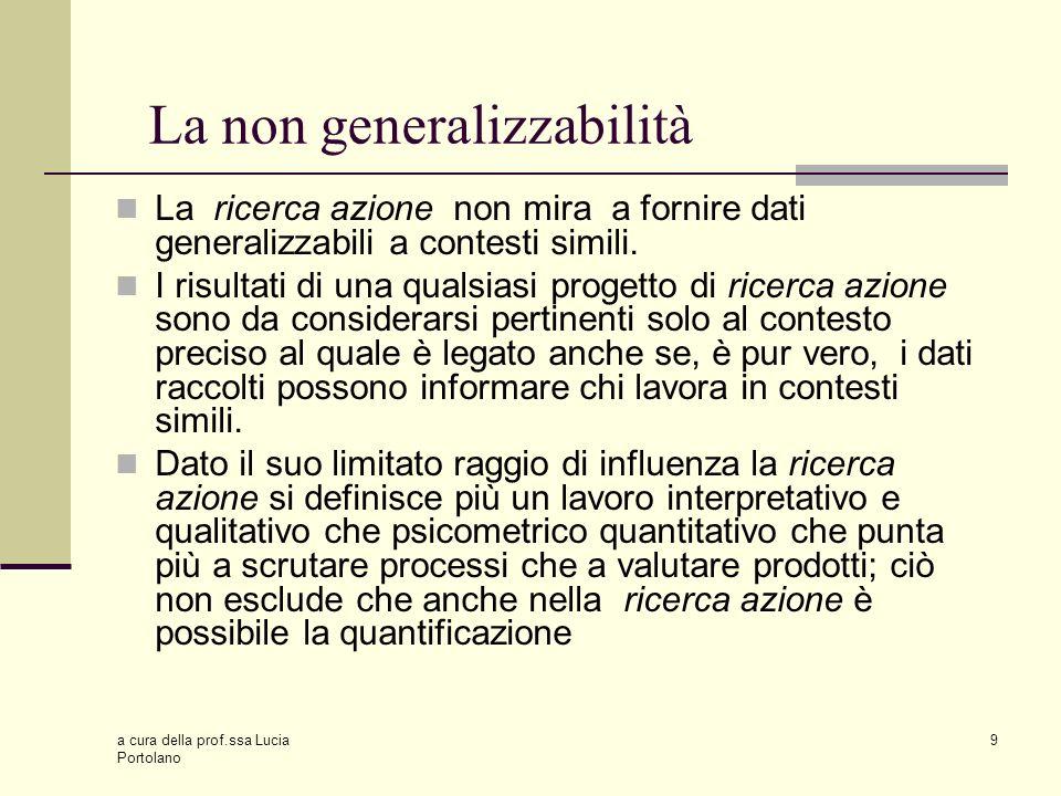 La non generalizzabilità
