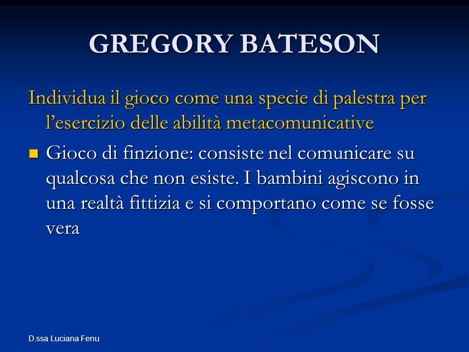 GREGORY BATESON Individua il gioco come una specie di palestra per l'esercizio delle abilità metacomunicative.