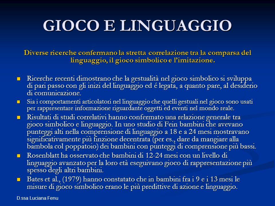 GIOCO E LINGUAGGIO Diverse ricerche confermano la stretta correlazione tra la comparsa del linguaggio, il gioco simbolico e l'imitazione.