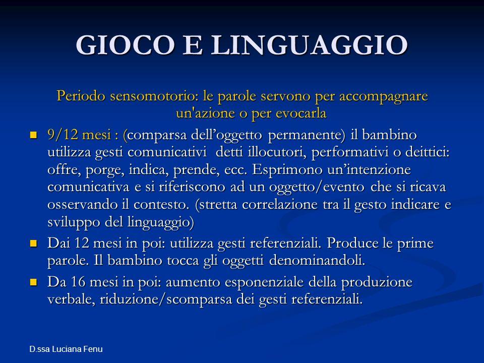 GIOCO E LINGUAGGIO Periodo sensomotorio: le parole servono per accompagnare un azione o per evocarla.