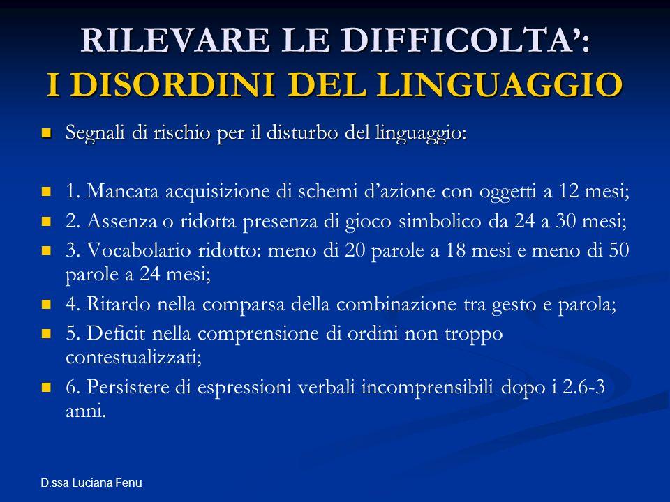 RILEVARE LE DIFFICOLTA': I DISORDINI DEL LINGUAGGIO