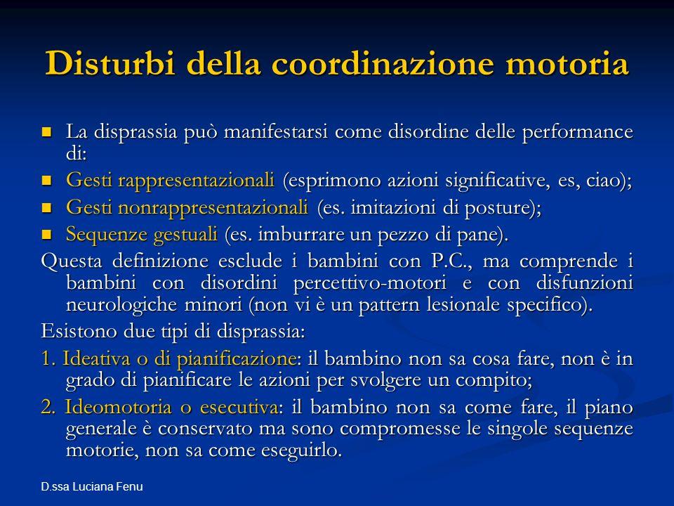 Disturbi della coordinazione motoria