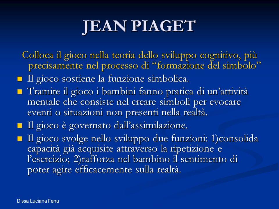 JEAN PIAGET Colloca il gioco nella teoria dello sviluppo cognitivo, più precisamente nel processo di formazione del simbolo