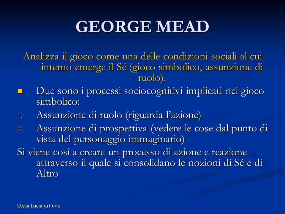 GEORGE MEAD Analizza il gioco come una delle condizioni sociali al cui interno emerge il Sé (gioco simbolico, assunzione di ruolo).