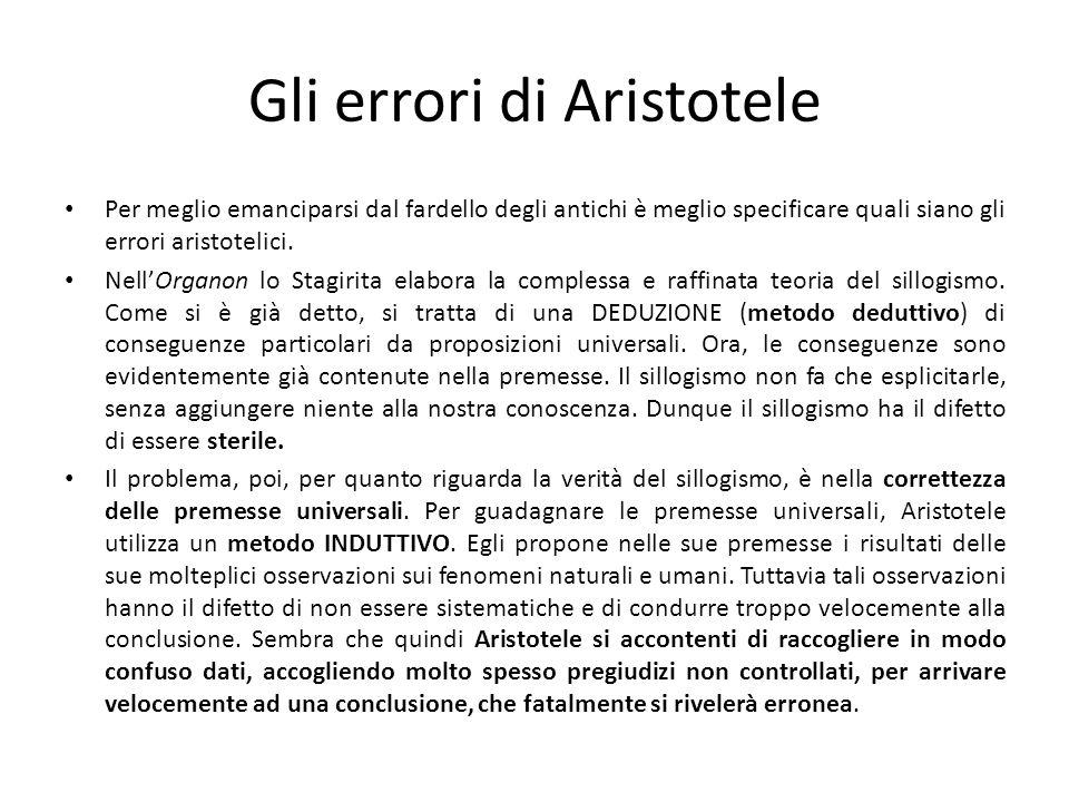 Gli errori di Aristotele