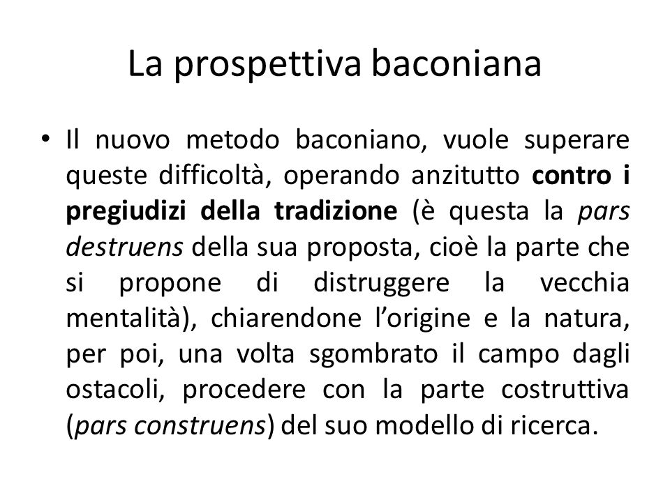 La prospettiva baconiana