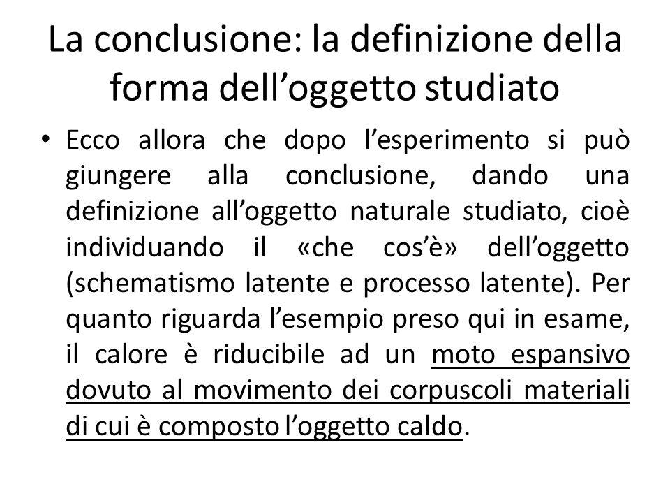 La conclusione: la definizione della forma dell'oggetto studiato