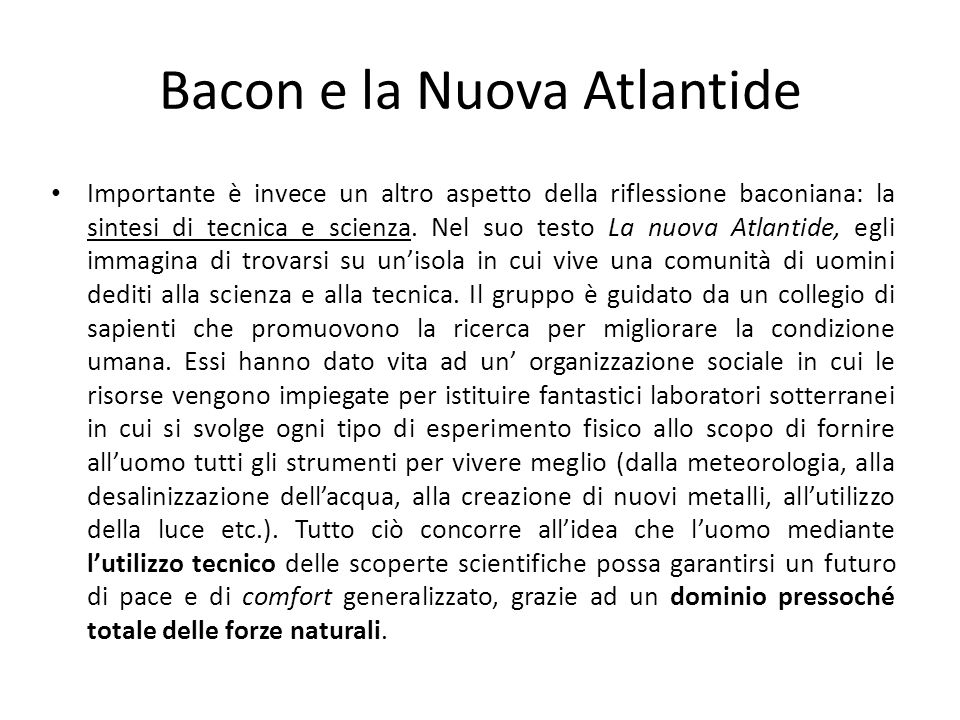 Bacon e la Nuova Atlantide