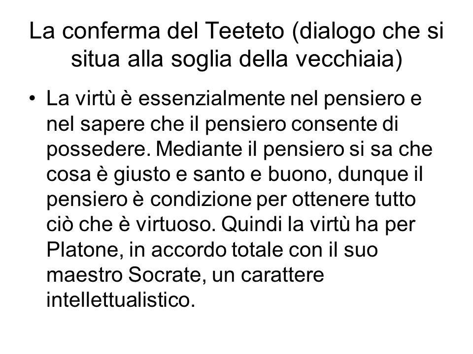 La conferma del Teeteto (dialogo che si situa alla soglia della vecchiaia)