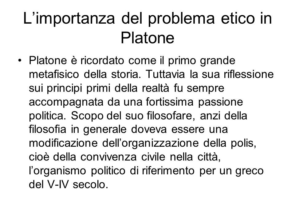 L'importanza del problema etico in Platone
