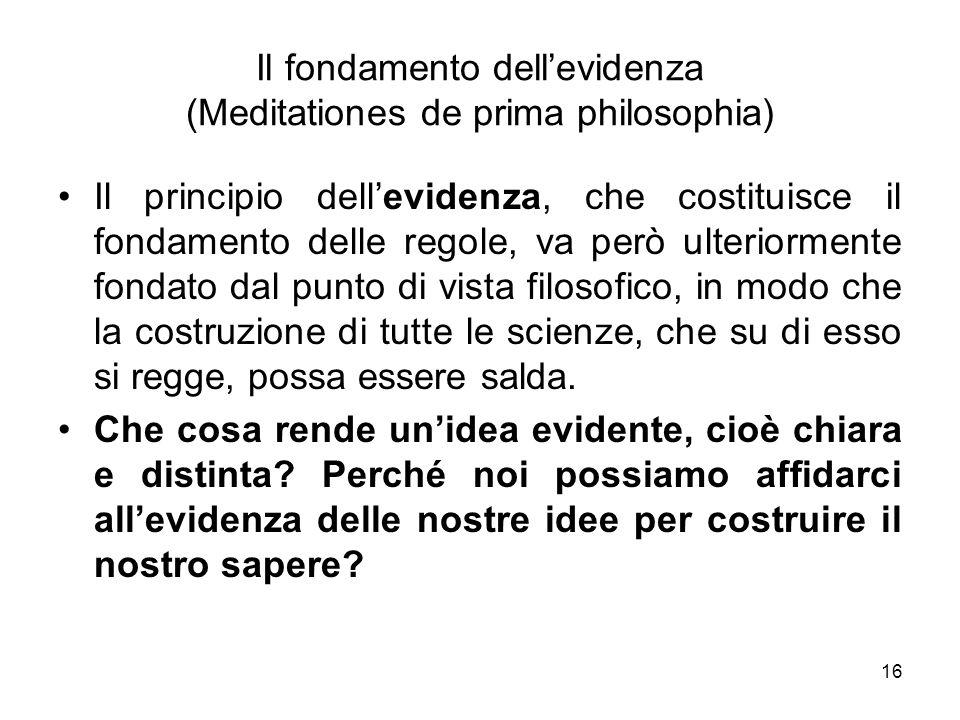 Il fondamento dell'evidenza (Meditationes de prima philosophia)