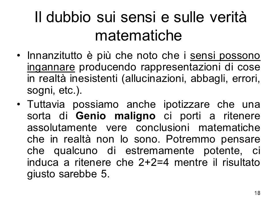 Il dubbio sui sensi e sulle verità matematiche