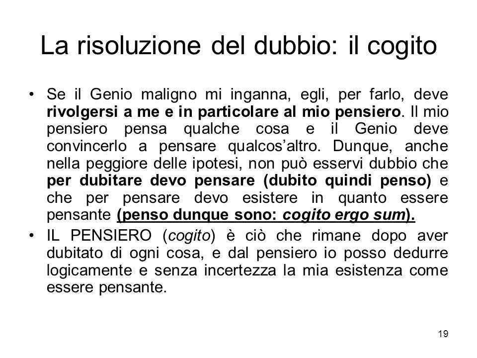 La risoluzione del dubbio: il cogito