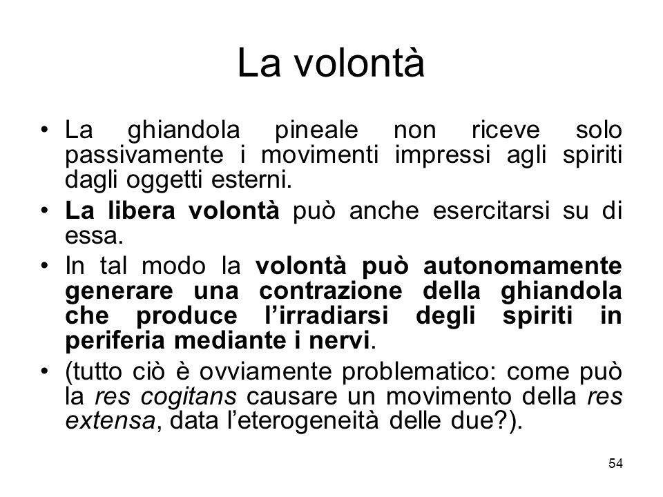 La volontà La ghiandola pineale non riceve solo passivamente i movimenti impressi agli spiriti dagli oggetti esterni.