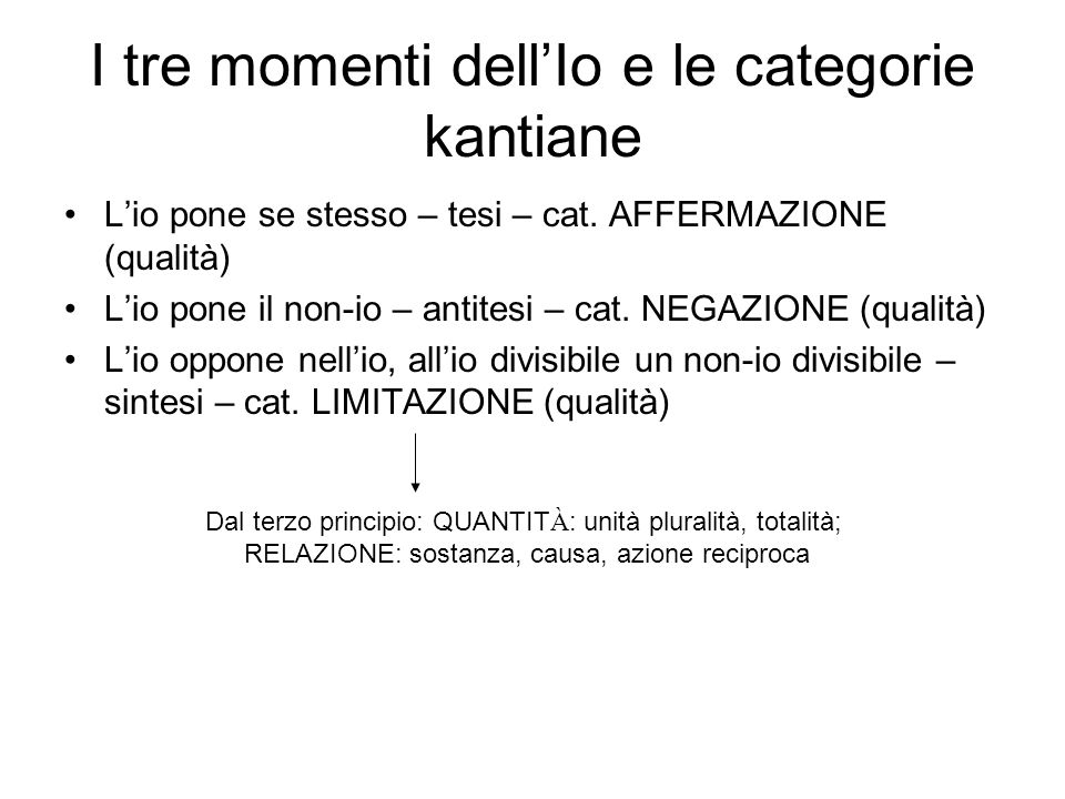 I tre momenti dell'Io e le categorie kantiane