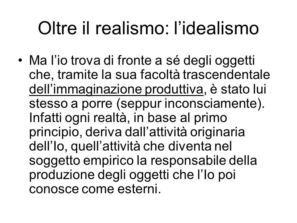 Oltre il realismo: l'idealismo