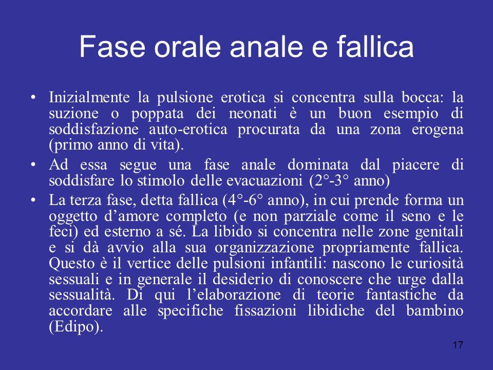 Fase orale anale e fallica
