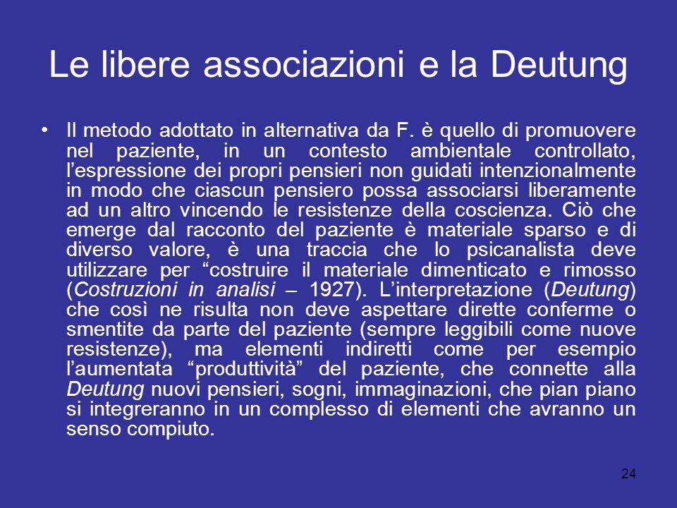 Le libere associazioni e la Deutung