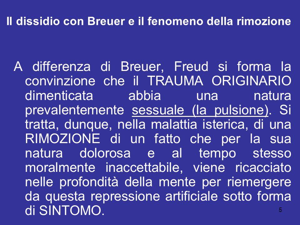 Il dissidio con Breuer e il fenomeno della rimozione