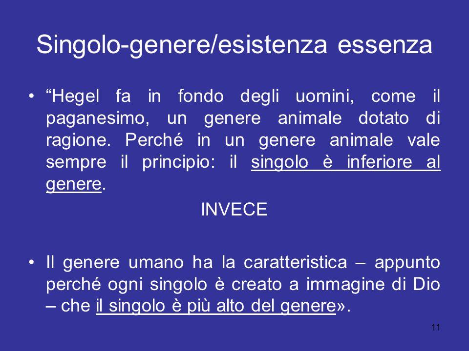 Singolo-genere/esistenza essenza