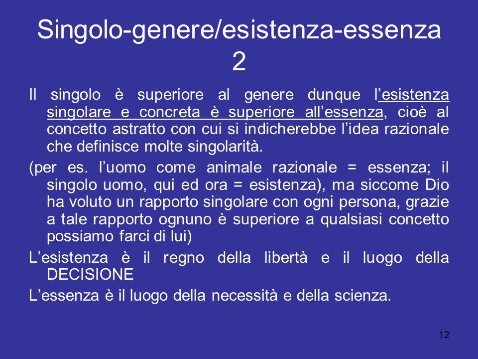 Singolo-genere/esistenza-essenza 2