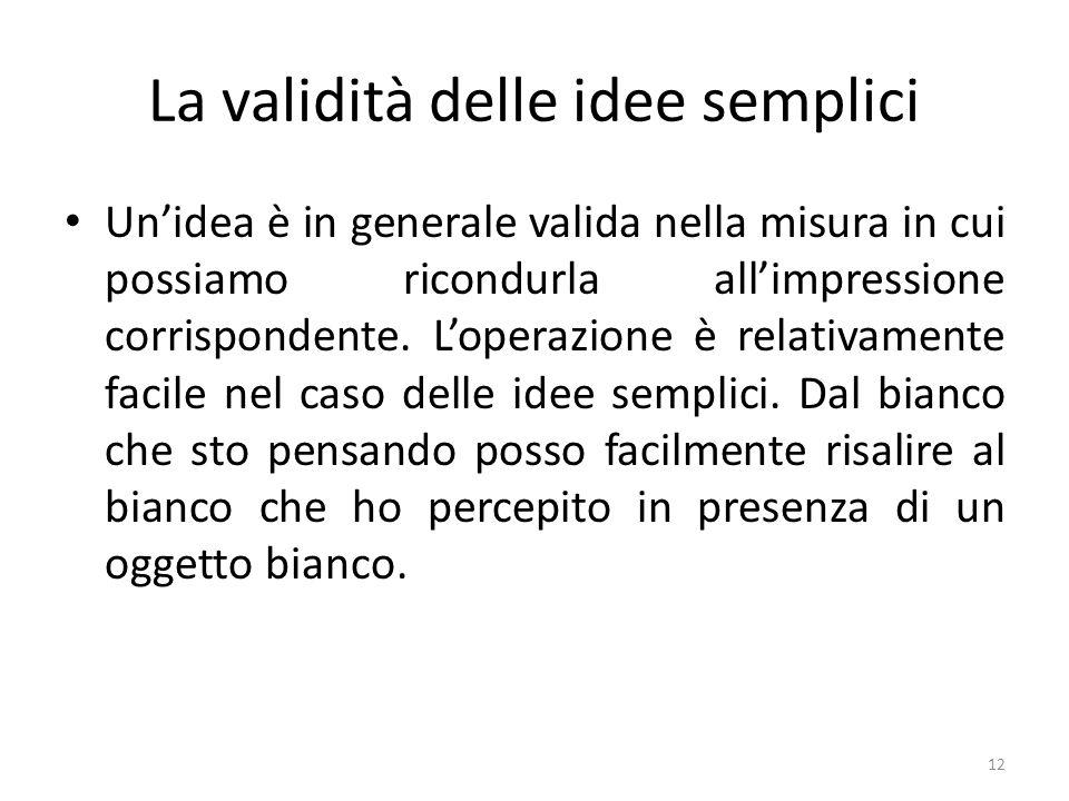 La validità delle idee semplici