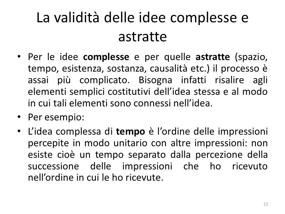 La validità delle idee complesse e astratte