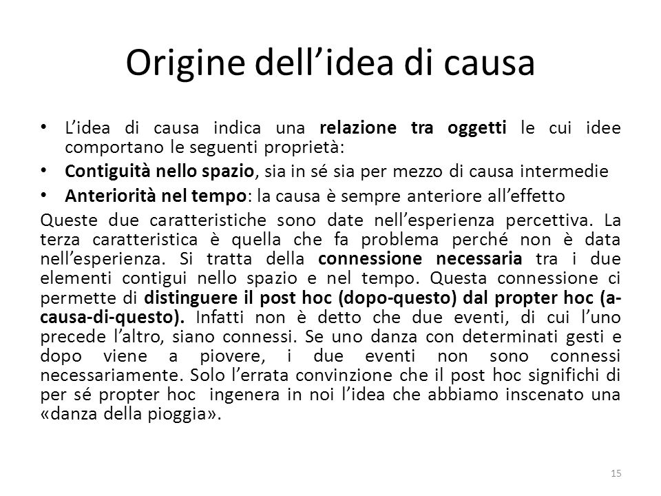 Origine dell'idea di causa