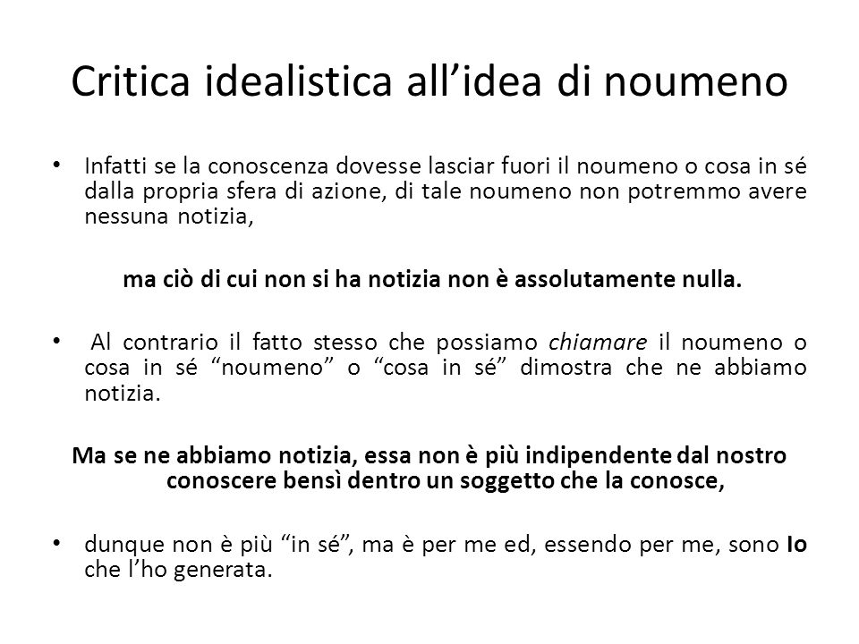 Critica idealistica all'idea di noumeno