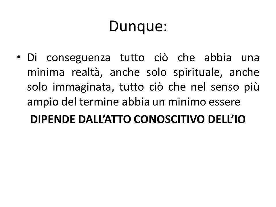 DIPENDE DALL'ATTO CONOSCITIVO DELL'IO