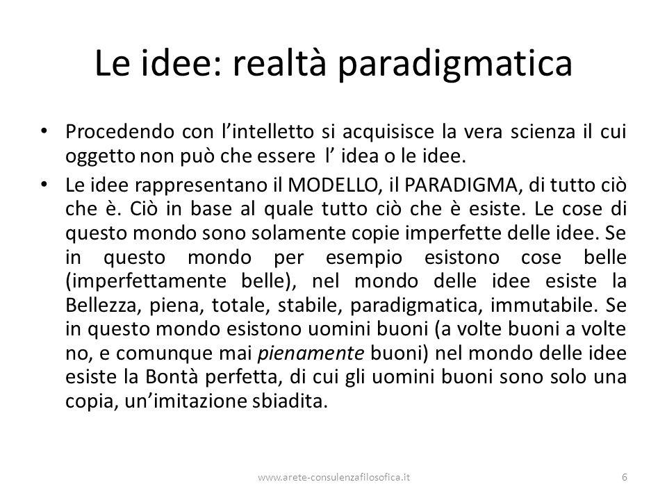 Le idee: realtà paradigmatica