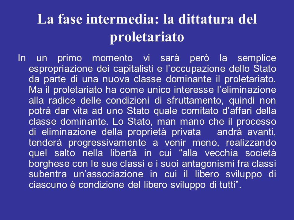 La fase intermedia: la dittatura del proletariato