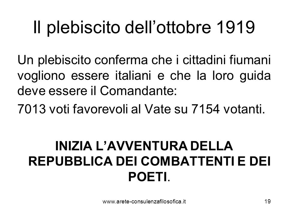 Il plebiscito dell'ottobre 1919